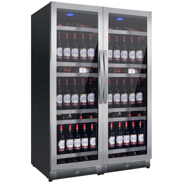 Racitor de vinuri Nevada Concept NW316D-SSL, 316 sticle, doua zone, negru/inox
