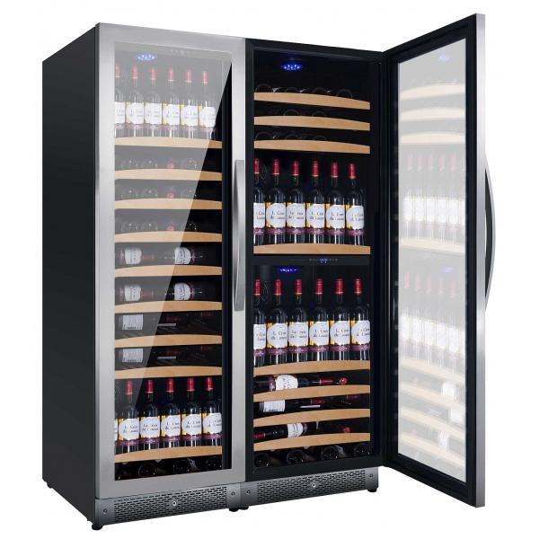 Racitor de vinuri Nevada Concept NW300T-SS, 300 sticle, doua zone, negru/inox