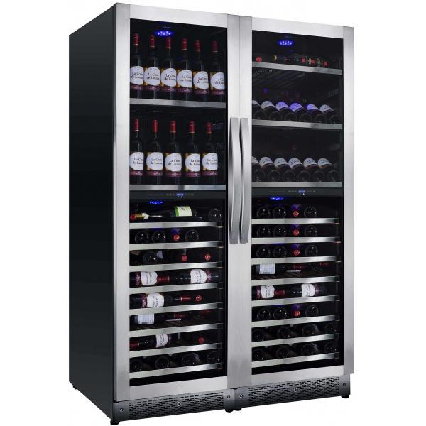 Vitrina de vinuri Nevada Concept NW292Q-SSL, 292 sticle, doua zone, inox/negru