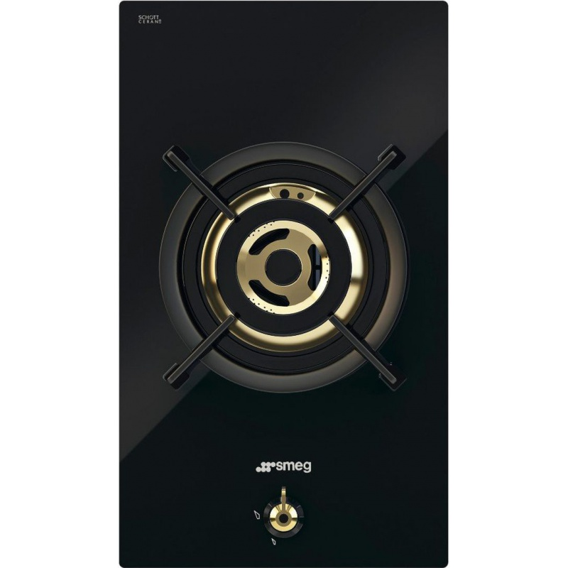 Plita incorporabila Smeg Domino Classica PC31GNO, 30 cm, plita gaz, 1 arzator,sistem siguranta Stop-Gaz, sticla neagra