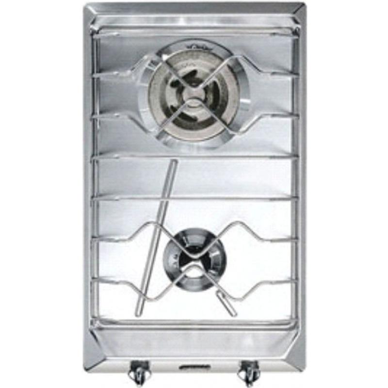 Plita incorporabila Smeg Domino Contemporanea SRV532X-3, 30 cm, plita gaz, 2 arzatoare,sistem siguranta Stop-Gaz, inox