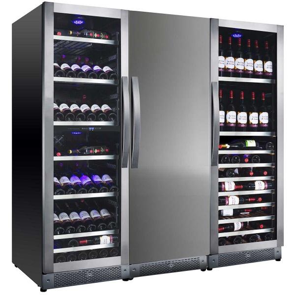 Vitrina de vinuri Nevada Concept NW400Q-SD, 400 sticle, 4 zone, negru/inox