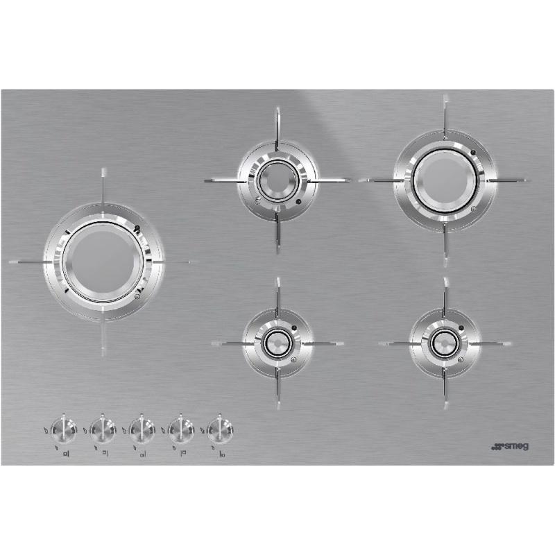 Plita incorporabila Smeg Dolce PXL675L, 75 cm, plita gaz, 5 arzatoare,sistem siguranta Stop-Gaz, inox