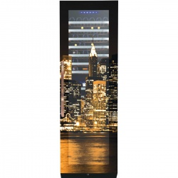 Vitrina de vinuri Nevada Coolors New York NW171D-FG-NY, 171 sticle, doua zone, negru