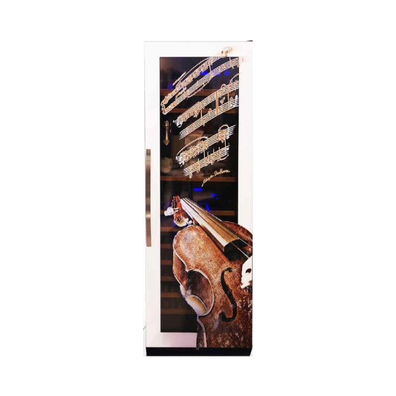 Vitrina de vinuri Nevada Coolors Violin NW140D-SS-VL, 171 sticle, doua zone, negru/inox