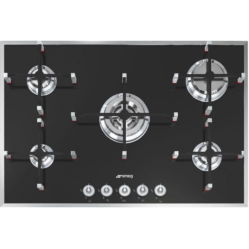 Plita incorporabila Smeg Linea PVN750, 74 cm, plita gaz, 5 arzatoare,sistem siguranta Stop-Gaz, sticla neagra