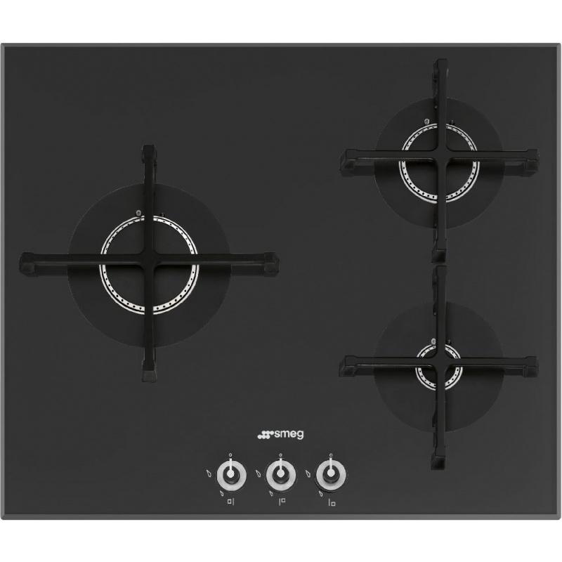 Plita incorporabila Smeg Linea PV163N-1, 60 cm, plita gaz, 3 arzatoare,sistem siguranta Stop-Gaz, sticla neagra