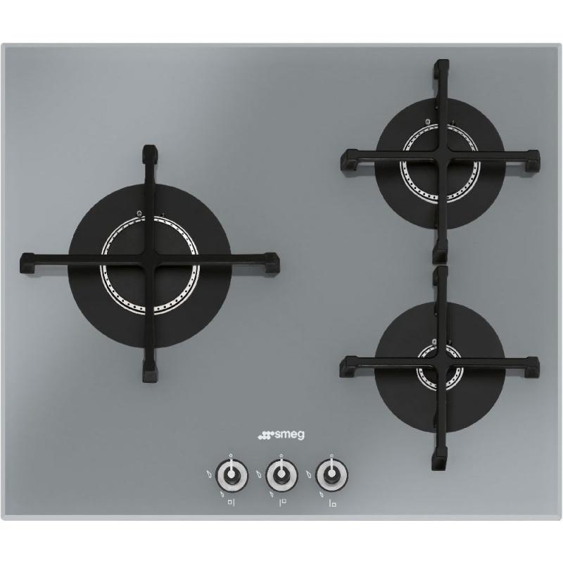 Plita incorporabila Smeg Linea PV163S-1, 60 cm, plita gaz, 3 arzatoare,sistem siguranta Stop-Gaz, sticla argintie