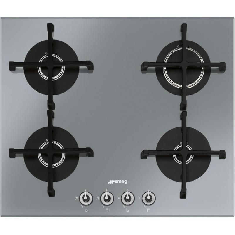 Plita incorporabila Smeg Linea PV164S-1, 60 cm, plita gaz, 4 arzatoare,sistem siguranta Stop-Gaz, sticla argintie