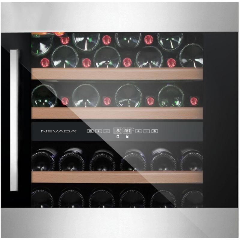 Vitrina de vinuri incorporabila Nevada Concept NW40D-FGS, 40 sticle, doua zone, inox/negru
