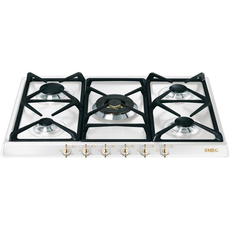 Plita incorporabila Smeg Coloniale SPR876BGH, 70 cm, plita gaz, 5 arzatoare, sistem siguranta Stop-Gaz, alb