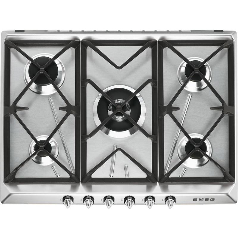 Plita incorporabila Smeg Victoria SR975XGH, 70 cm, plita gaz, 5 arzatoare, sistem siguranta Stop-Gaz, inox