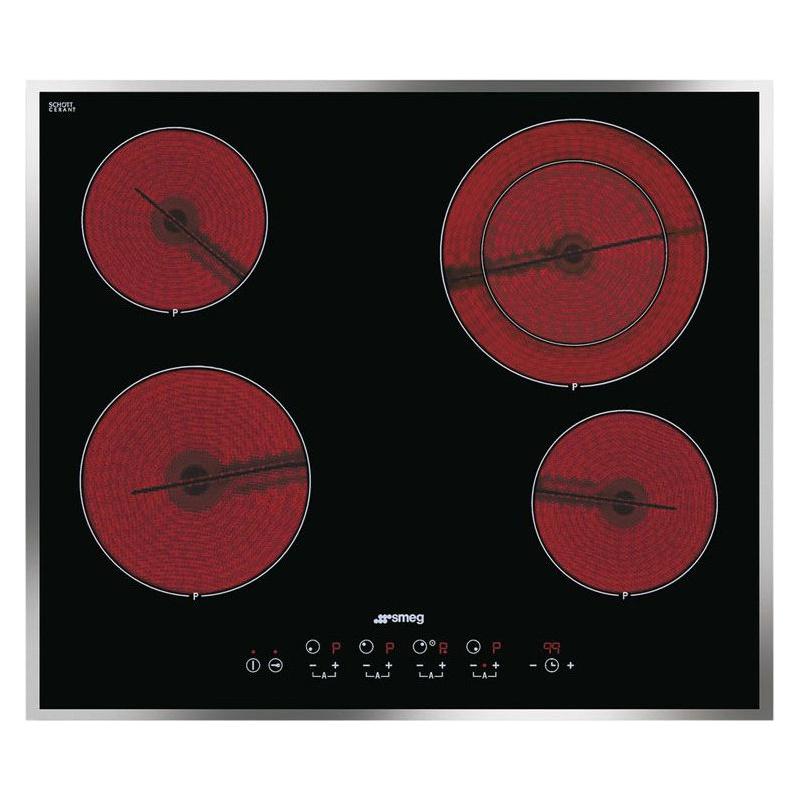 Plita incorporabila Smeg Linea SE2641CX2, 60 cm, plita ceramica, 4 zone gatit, sistem siguranta, sticla neagra