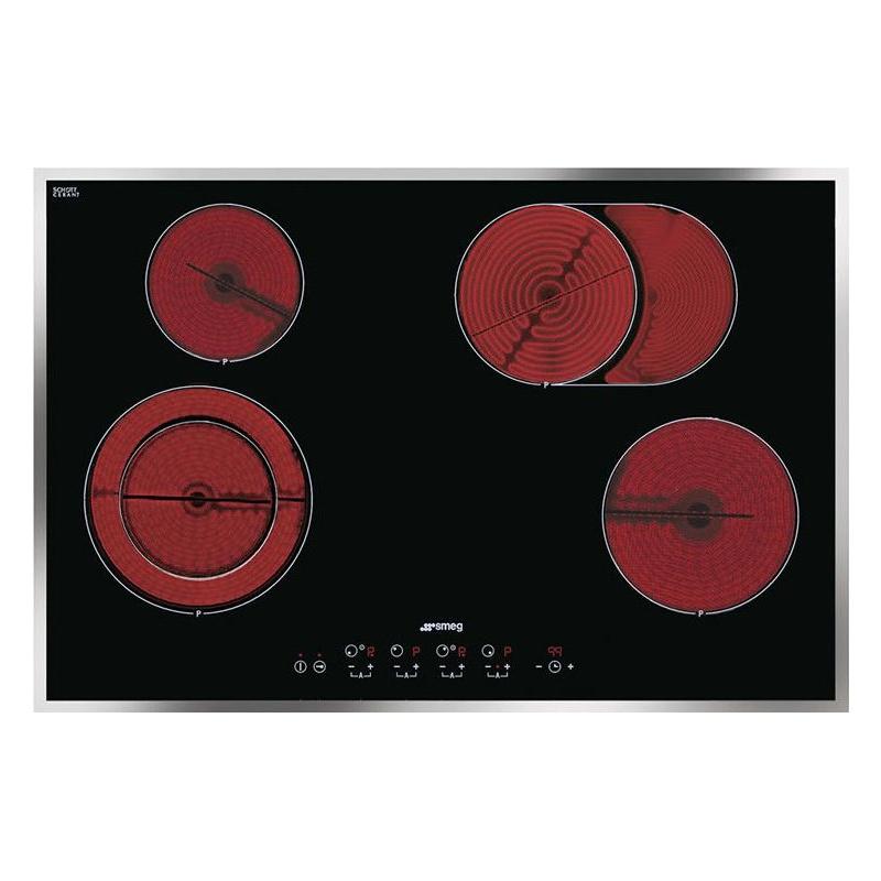 Plita incorporabila Smeg Linea SE2772CX2, 77 cm, plita ceramica, 4 zone gatit, sistem siguranta, sticla neagra