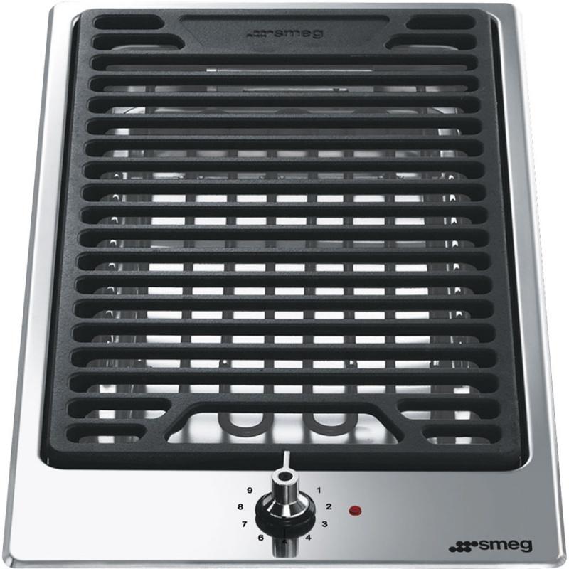 Plita grill incorporabila Smeg Domino Classica PGF30B, 30 cm, 1 gratar BBQ, inox