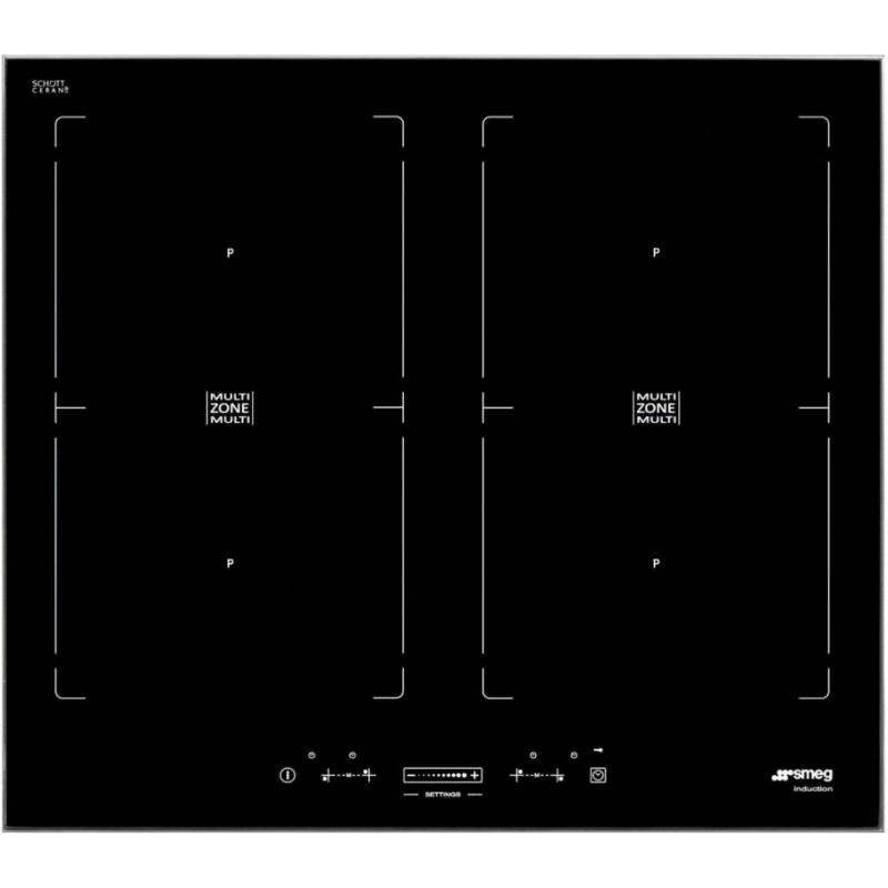 Plita incorporabila Smeg Universal SIM562FX, 60 cm, plita inductie, 4 zone gatit multizone, sistem siguranta, sticla neagra