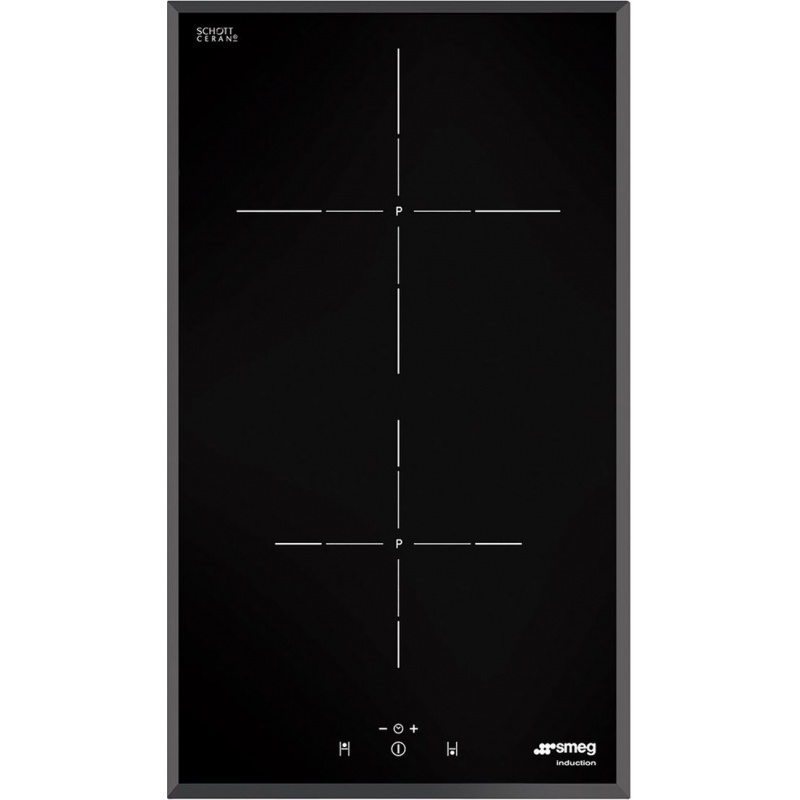 Plita incorporabila Smeg Domino Contemporanea SI5322B, 30 cm, plita inductie, 2 zone gatit, sistem siguranta, sticla neagra