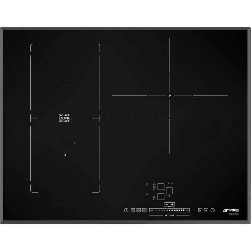 Plita incorporabila Smeg Universal SIM571B, 65 cm, plita inductie, 1+2 zone gatit multizone, sistem siguranta, sticla neagra