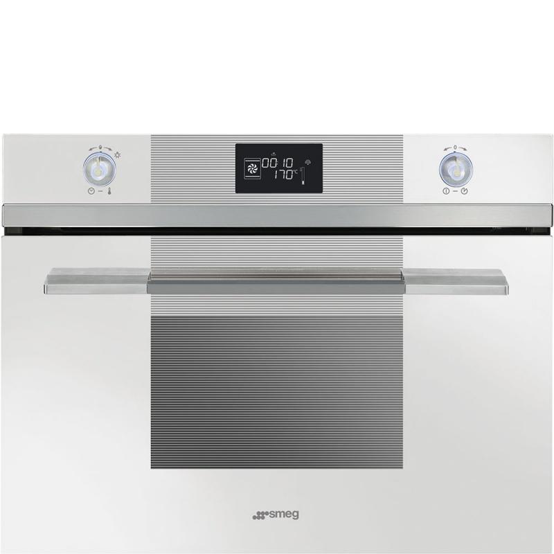 Cuptor incorporabil cu abur compact Smeg Linea SF4120VCB, electric, multifunctional, 60 cm, sticla alba