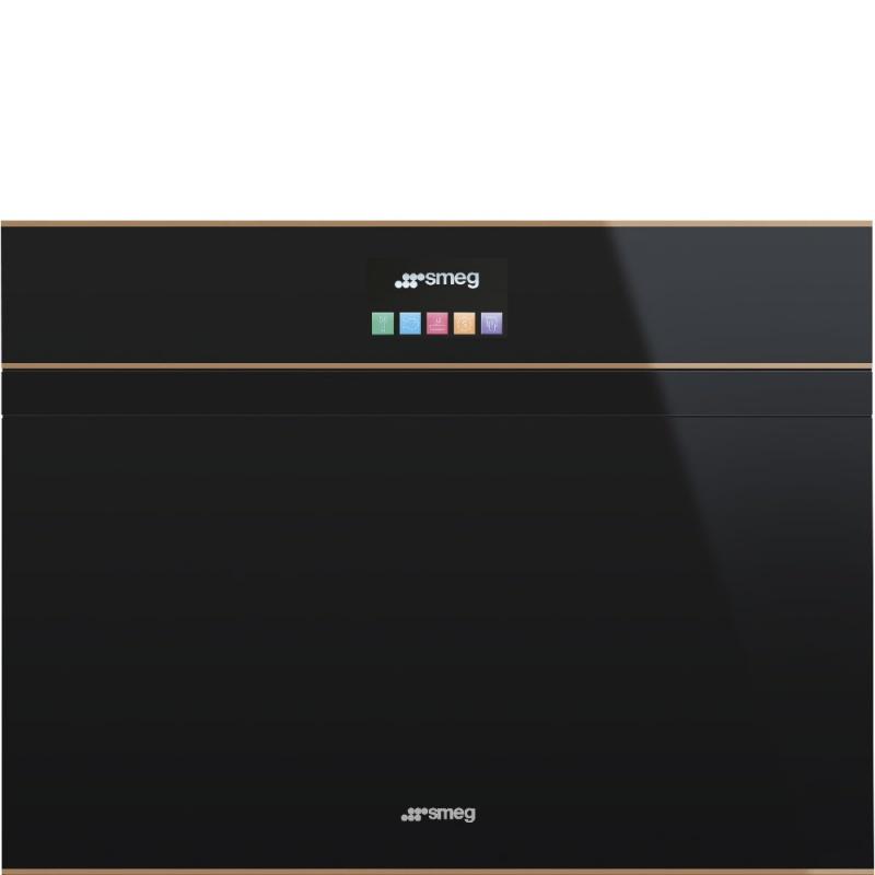 Cuptor incorporabil cu abur compact Smeg Dolce SF4604PVCNR, electric, multifunctional, 60 cm, 13 functii, sticla neagra