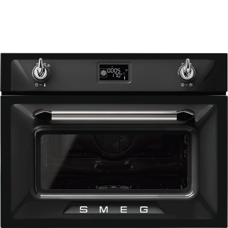Cuptor incorporabil cu abur compact Smeg Victoria SF4920VCN1, electric, multifunctional, 60 cm, 12 functii, negru