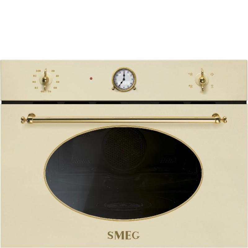 Cuptor incorporabil cu abur compact Smeg Coloniale SF4800VP1, electric, multifunctional, 60 cm, 5 functii, crem