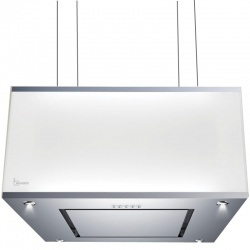 Hota design suspendata Baraldi Domina 01DOM060STG80, 60 cm, 800 m3/h, sticla alba/inox