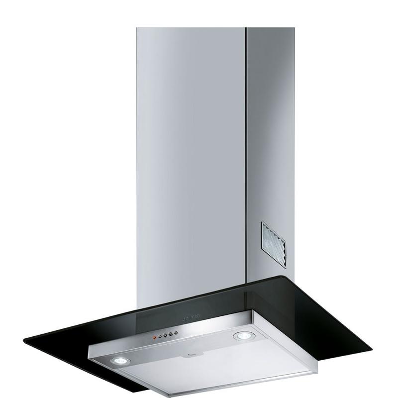 Hota decorativa Smeg Universal KFV62DNE, 60 cm, 560 m3/h, sticla neagra/inox