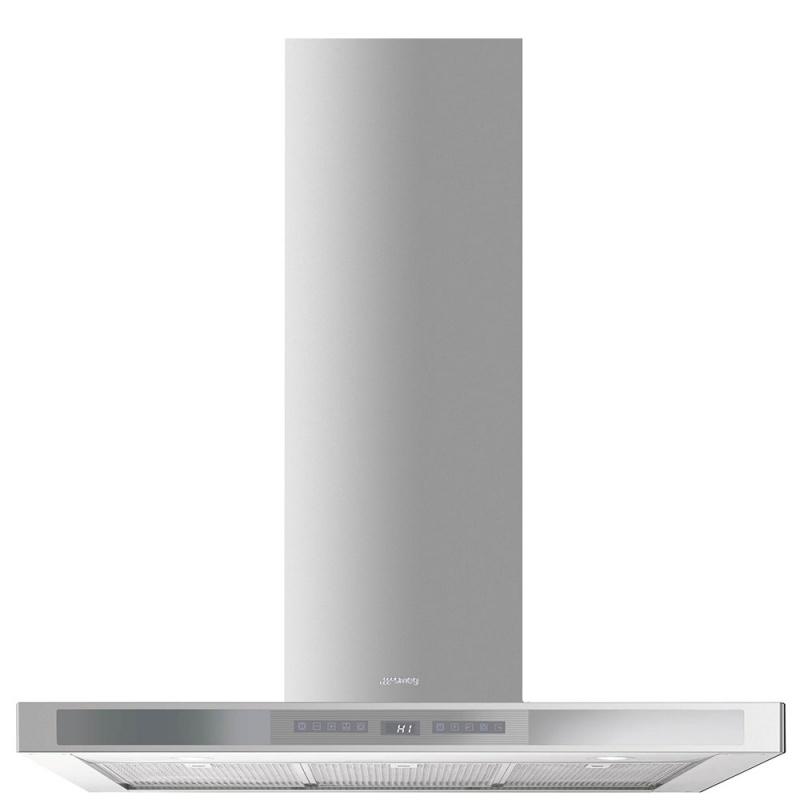 Hota decorativa Smeg Linea KS912XE, 90 cm, 756 m3/h, inox/sticla argintie