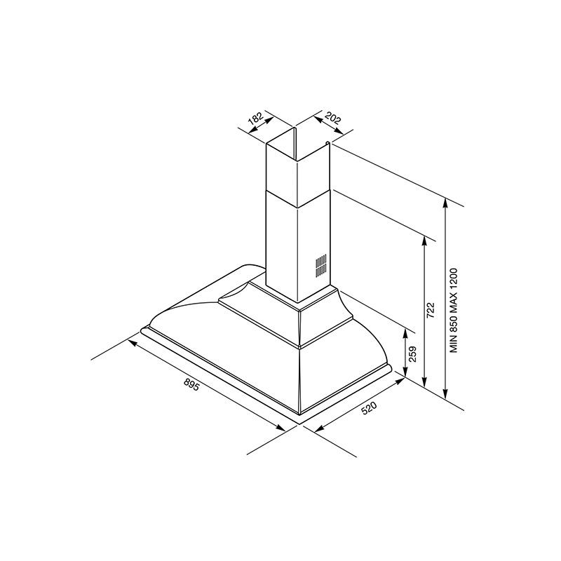 Hota decorativa Smeg Cortina KC19POE, 90 cm, 794 m3/h, crem