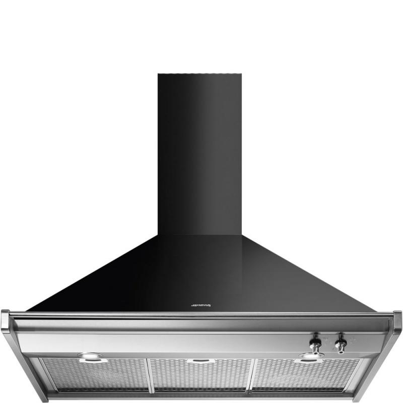 Hota decorativa Smeg Classica KD90NE, 90 cm, 773 m3/h, negru