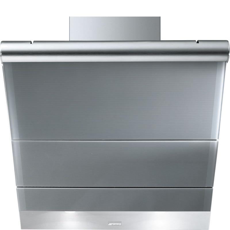 Hota decorativa Smeg Linea KTS75CE, 75 cm, 714 m3/h, sticla argintie/inox