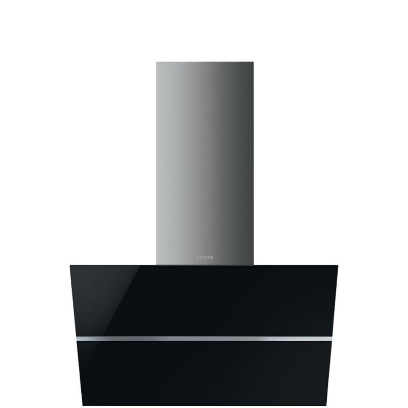 Hota decorativa Smeg Linea KCV80NE, 80 cm, 690 m3/h, sticla neagra/inox