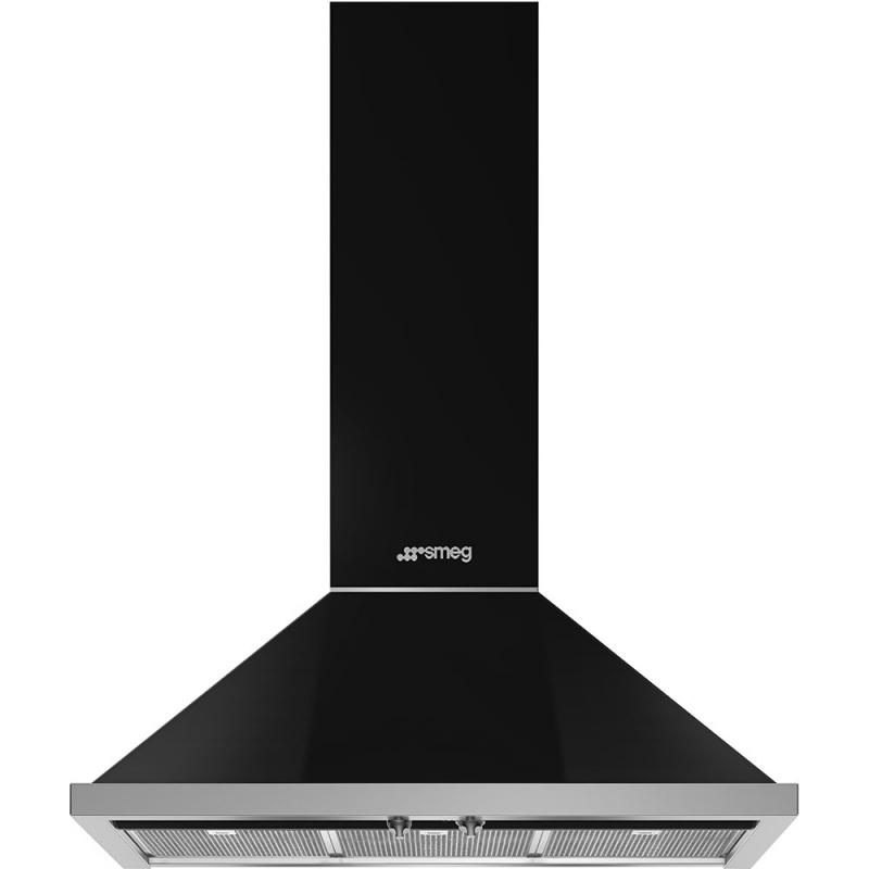 Hota decorativa Smeg Portofino KPF9BL, 90 cm, 781 m3/h, negru