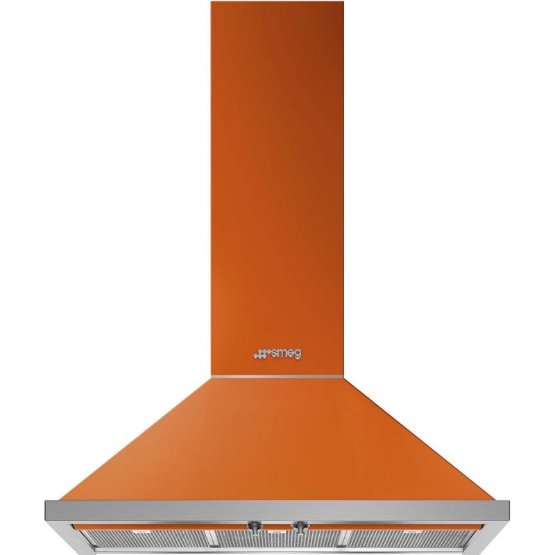 Hota decorativa Smeg Portofino KPF9OR, 90 cm, 781 m3/h, portocaliu
