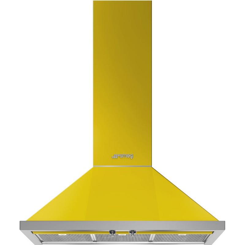 Hota decorativa Smeg Portofino KPF9YW, 90 cm, 781 m3/h, galben