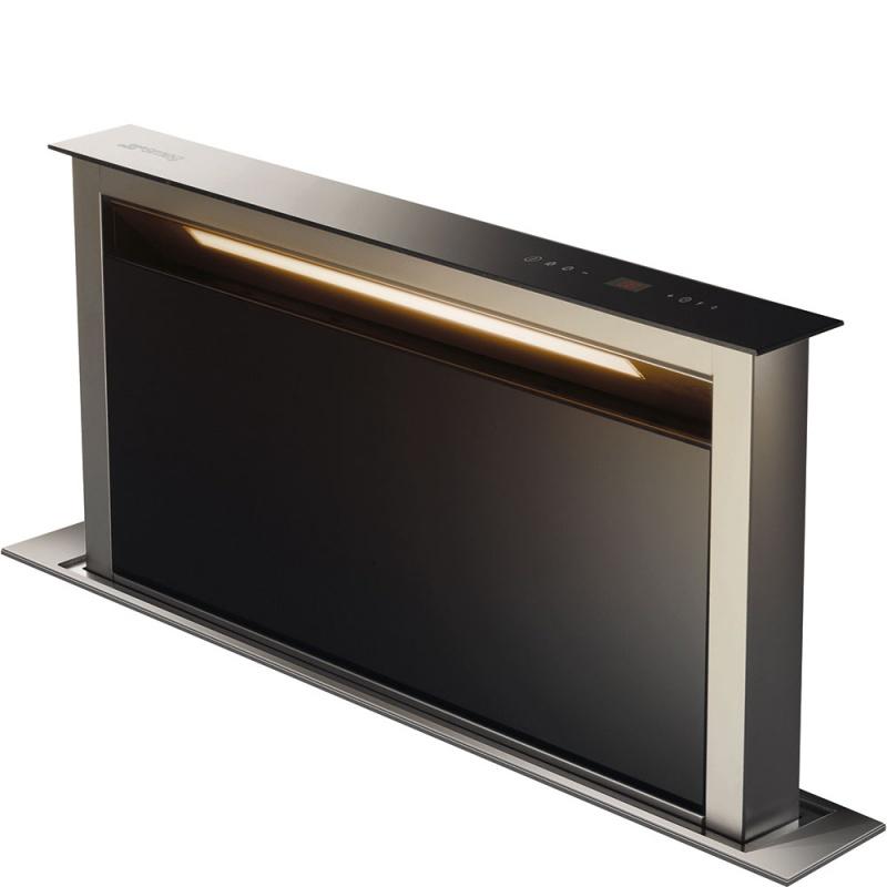 Hota insula Smeg KDD90VXE-2, 90 cm, 700 m3/h, sticla neagra / inox