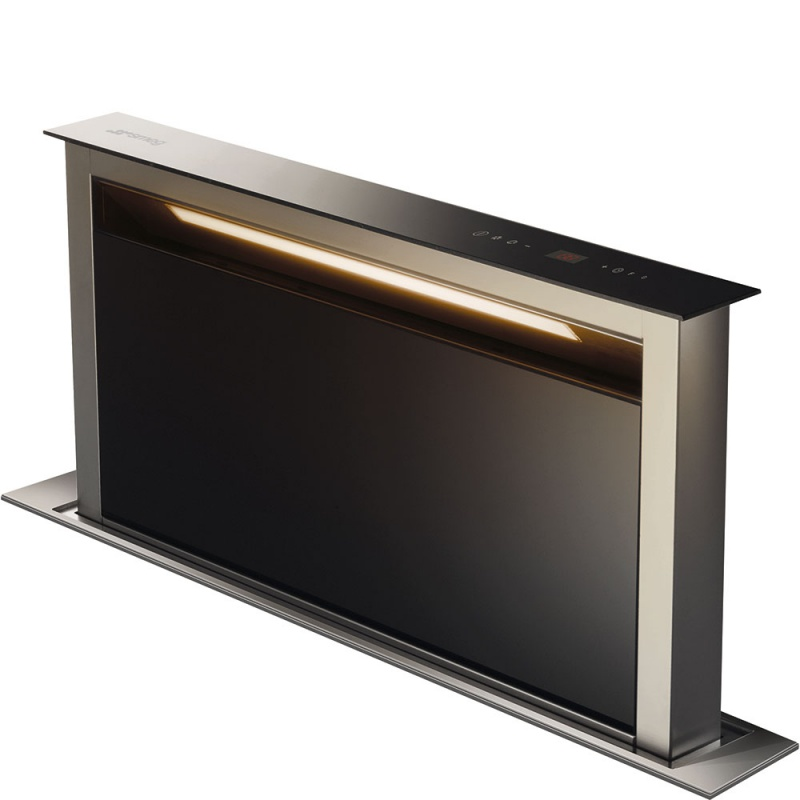 Hota insula Smeg Dolce KDD90VN-2, 90 cm, 730 m3/h, sticla neagra / inox