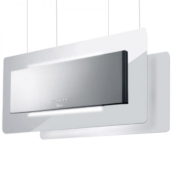 Hota design suspendata Baraldi Trisia Appesa 01TRSAP090STW80, 90 cm, 800 m3/h, sticla alba/inox