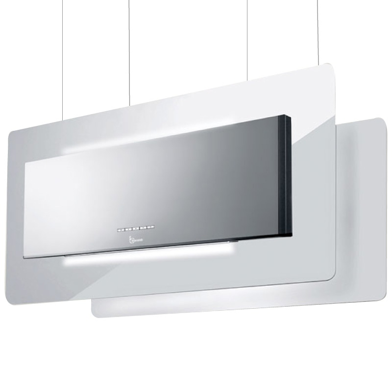Hota design suspendata Baraldi Trisia Appesa 01TRSAP090STW90, 90 cm, 900 m3/h, sticla alba/inox