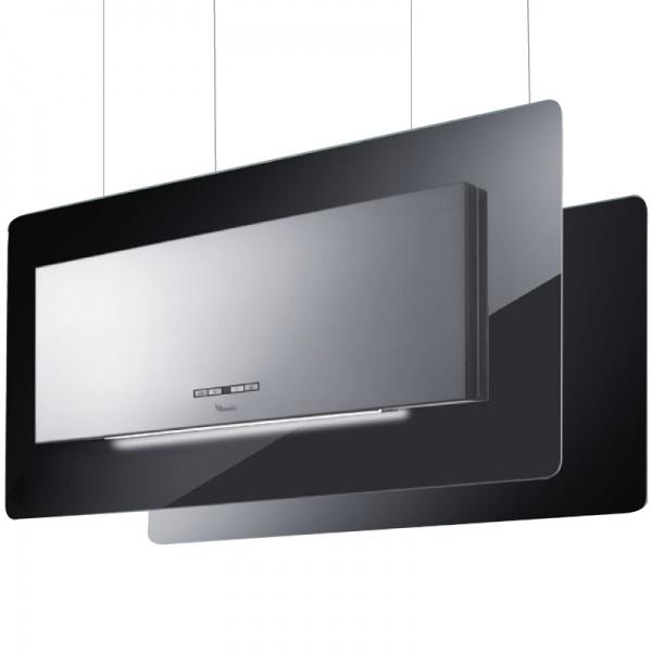 Hota design suspendata Baraldi Trisia Appesa 01TRSAP090STB80, 90 cm, 800 m3/h, sticla neagra/inox