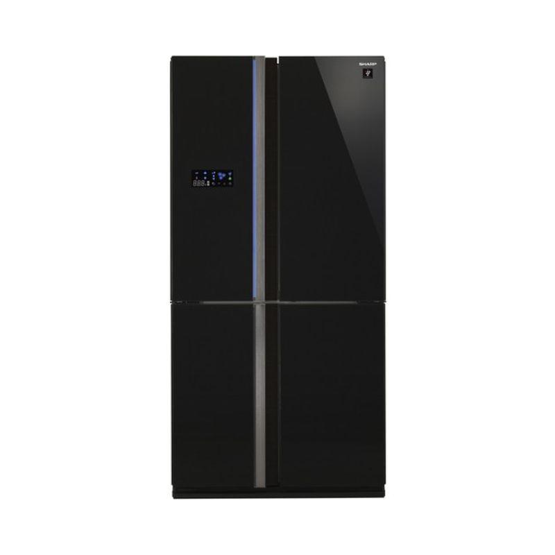 Side by side SHARP SJFS820VBK, 605l, Clasa A++,Hybrid Coolinng System, sticla neagra