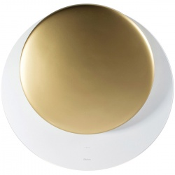 Hota decorativa de perete Sirius SLTC 94 ECLIPSE-WHITE+GOLD, 80 cm, 750 m3/h, sticla+ceramica, alb/auriu