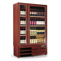 Vitrina de vinuri verticala Tecfrigo Grotta 600(2TV), 160 sticle, 1 zona temperatura, 2 usi, lemn maro