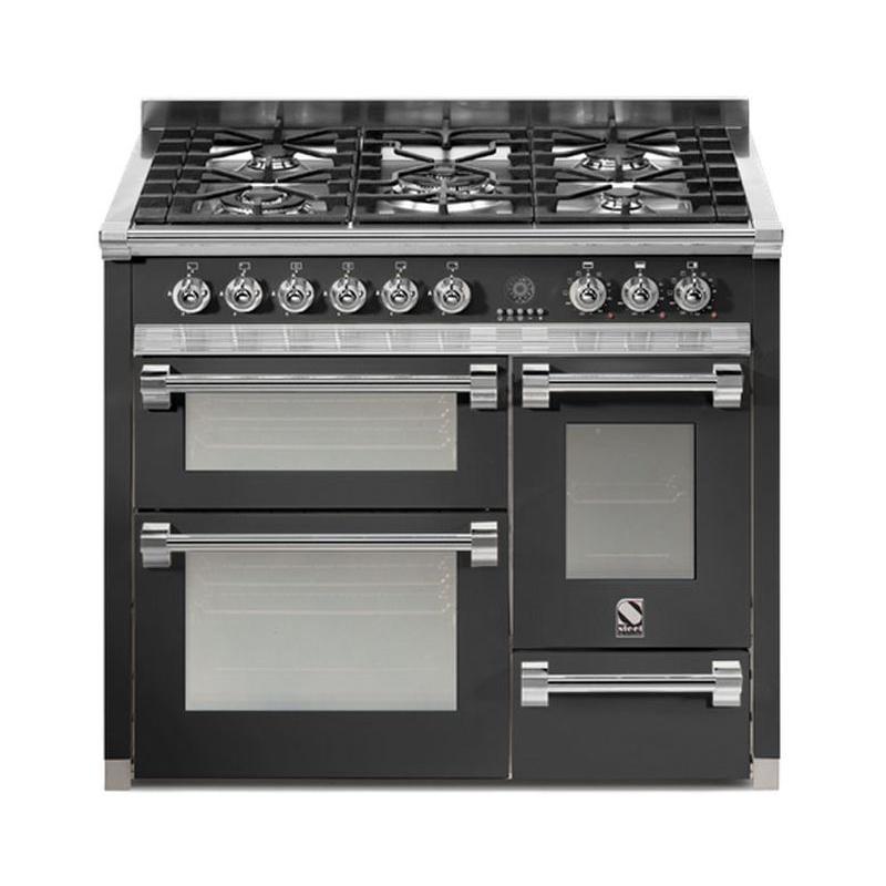 Aragaz Steel Ascot A10FFF, 100X60cm, 6 arzatoare, 3 cuptoare, timer, aprindere electronica, negru antracit