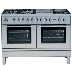 Aragaz ILVE Profesional line P120, 120X60cm, 7 arzatoare, 2 cuptoare electrice, timer, aprindere electronica, inox