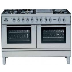 Aragaz ILVE Profesional line P120, 120X60cm, 6 arzatoare, 2 cuptoare electrice, timer, aprindere electronica, tepanyaki, inox