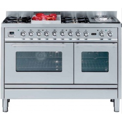 Aragaz ILVE Profesional line P120, 120X60cm, 7 arzatoare, cuptor gaz+electric, timer, aprindere electronica, inox