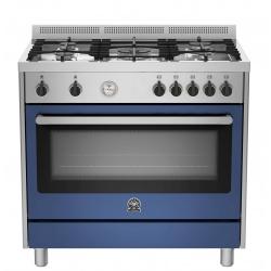 Aragaz Bertazzoni La Germania PRO905MFESXT, 90x60 cm, gaz, 5 arzatoare, cuptor electric, albastru