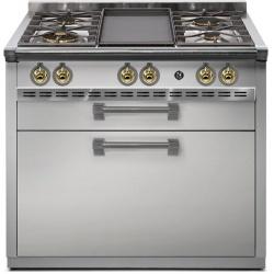 Aragaz Steel Oxford X9F, 90X60cm, 6 arzatoare, cuptor electric multifunctional, timer, aprindere electronica, negru